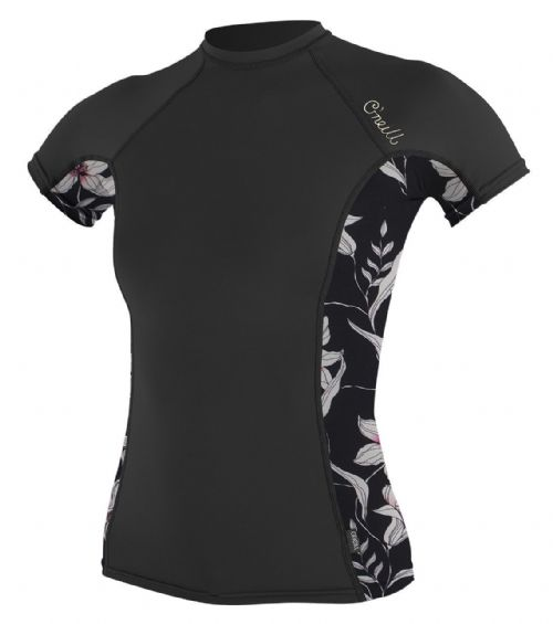 O'NEILL WOMENS RASH TOP.SIDE PRINT BLACK UPF50 SUN PROTECTION T SHIRT 8S 58S EN5